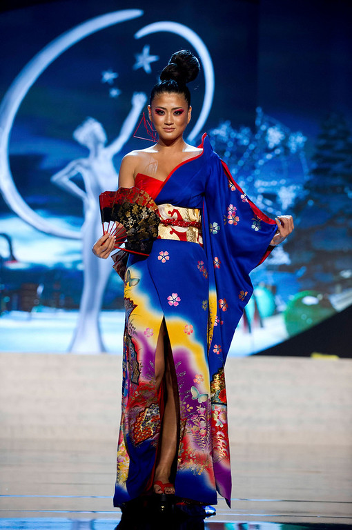 . Miss Japan Ayako Hara performs onstage at the 2012 Miss Universe National Costume Show at PH Live in Las Vegas, Nevada December 14, 2012. The 89 Miss Universe Contestants will compete for the Diamond Nexus Crown on December 19, 2012. REUTERS/Darren Decker/Miss Universe Organization/Handout