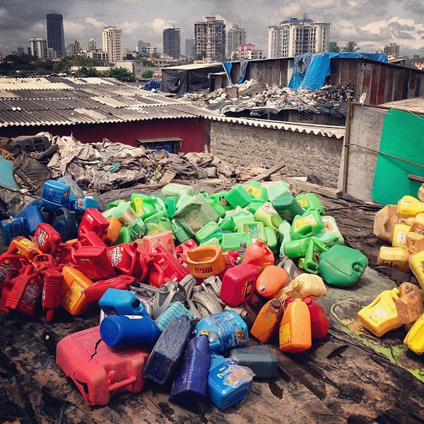 Mumbai skyline, Dharavi rooftop recycling industry