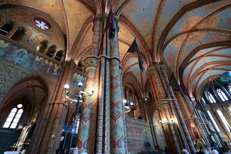 Column details inside St. Mattias Church, Budapest.
