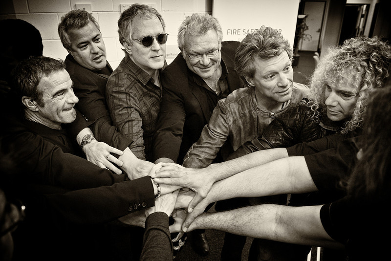 . December 17, 2013 - Bon Jovi gathers in a huddle right before taking the stage at SunCorp Stadium in Brisbane, Australia on December 17, 2013. Pictures is (from l-r) drummer Tico Torres, tour manager Scott Casey, bassist Hugh McDonald, manager Paul Korzilius, lead singer Jon Bon Jovi, and keyboardist David Bryan.  (Photo credit: David Bergman / Bon Jovi)