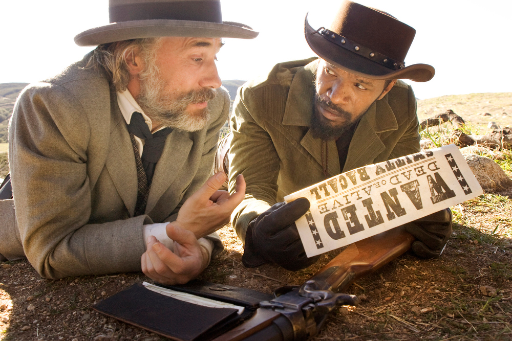 Description of . This undated publicity image released by The Weinstein Company shows, from left, Christoph Waltz as Schultz and Jamie Foxx as Django in the film,