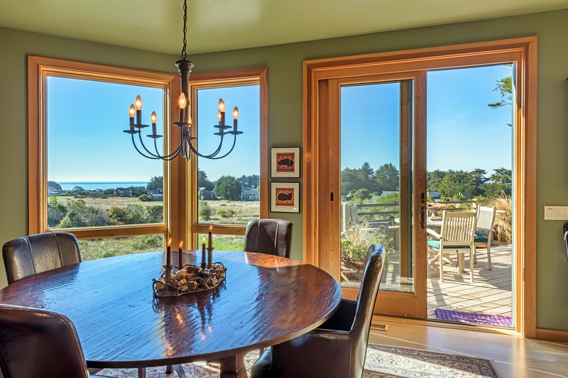 Dining Area with Ocean Views and Entry to Back Deck