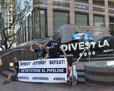 Defund Keystone XL March, Banner Drop & Bank Action - Divest LA