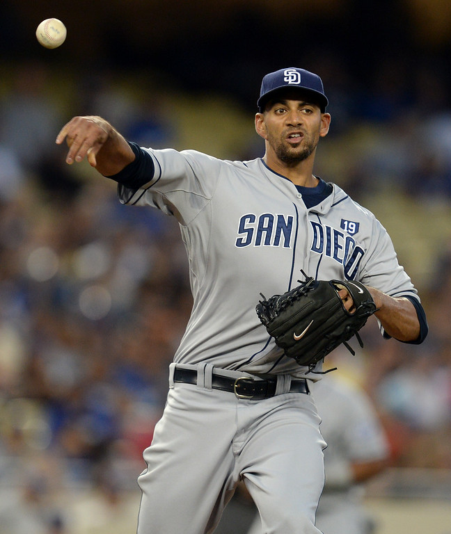 . Padres� pitcher Tyson Ross #38 throws to first base during their game against the Dodgers at Dodger Stadium Thursday, August 21, 2014. (Photo by Hans Gutknecht/Los Angeles Daily News)