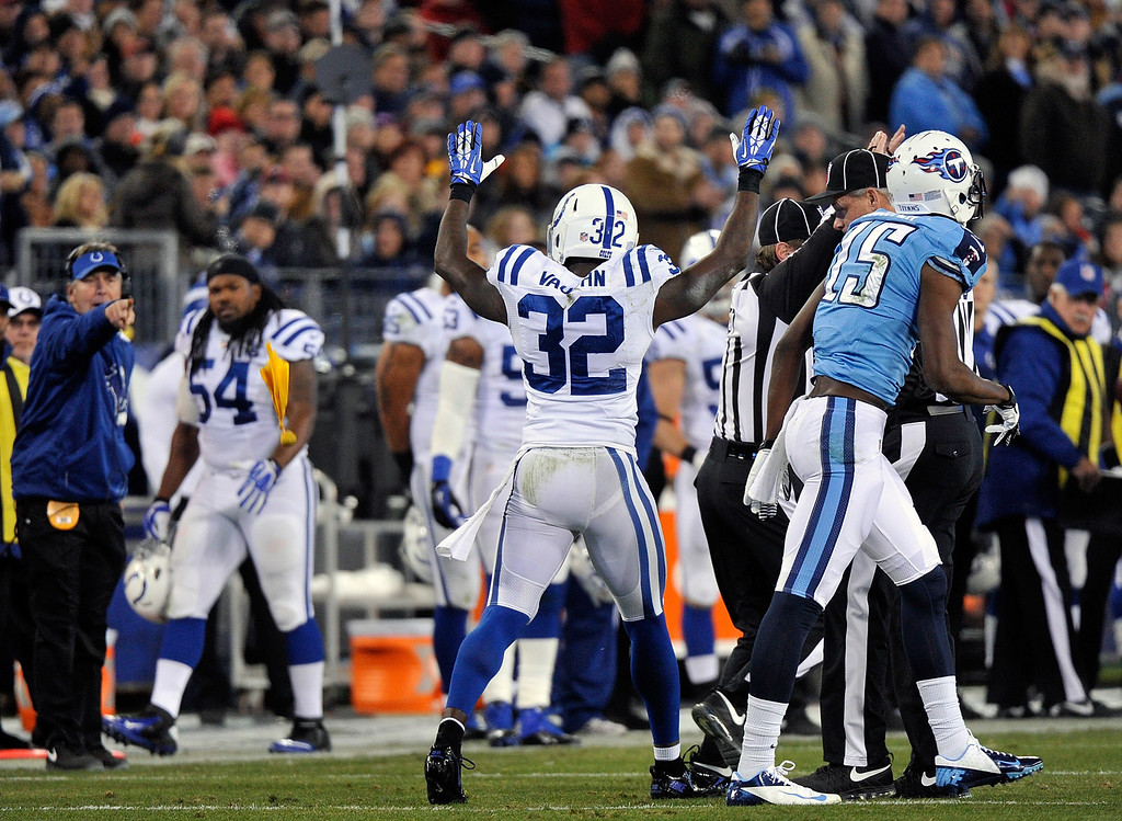. NASHVILLE, TN - NOVEMBER 14:  Cassius Vaughn #32 of the Indianapolis Colts has a penalty flag thrown in his direction after committing a penalty against the Tennessee Titans at LP Field on November 14, 2013 in Nashville, Tennessee.  (Photo by Frederick Breedon/Getty Images)
