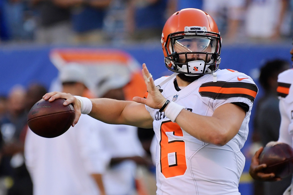 . Cleveland Browns quarterback Baker Mayfield (6) warms up before a preseason NFL football game against the New York Giants Thursday, Aug. 9, 2018, in East Rutherford, N.J. (AP Photo/Bill Kostroun)
