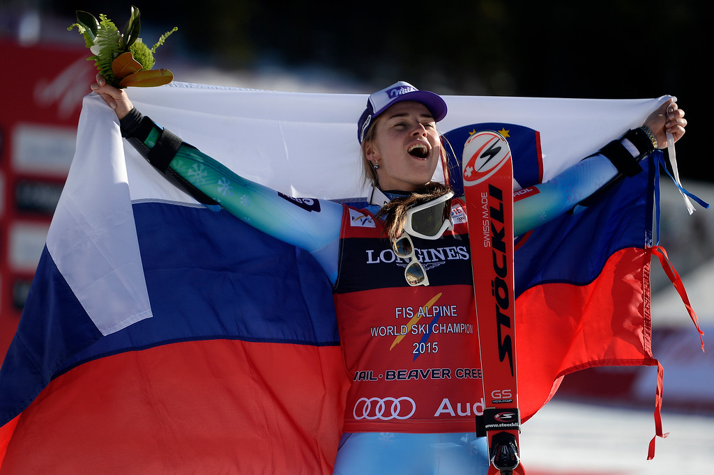 . BEAVER CREEK, CO - FEBRUARY 09: Tina Maze of Slovenia celebrates her win during the ladies\' alpine combined final. FIS Alpine World Ski Championships 2015 on Monday, February 9, 2015. (Photo by AAron Ontiveroz/The Denver Post)