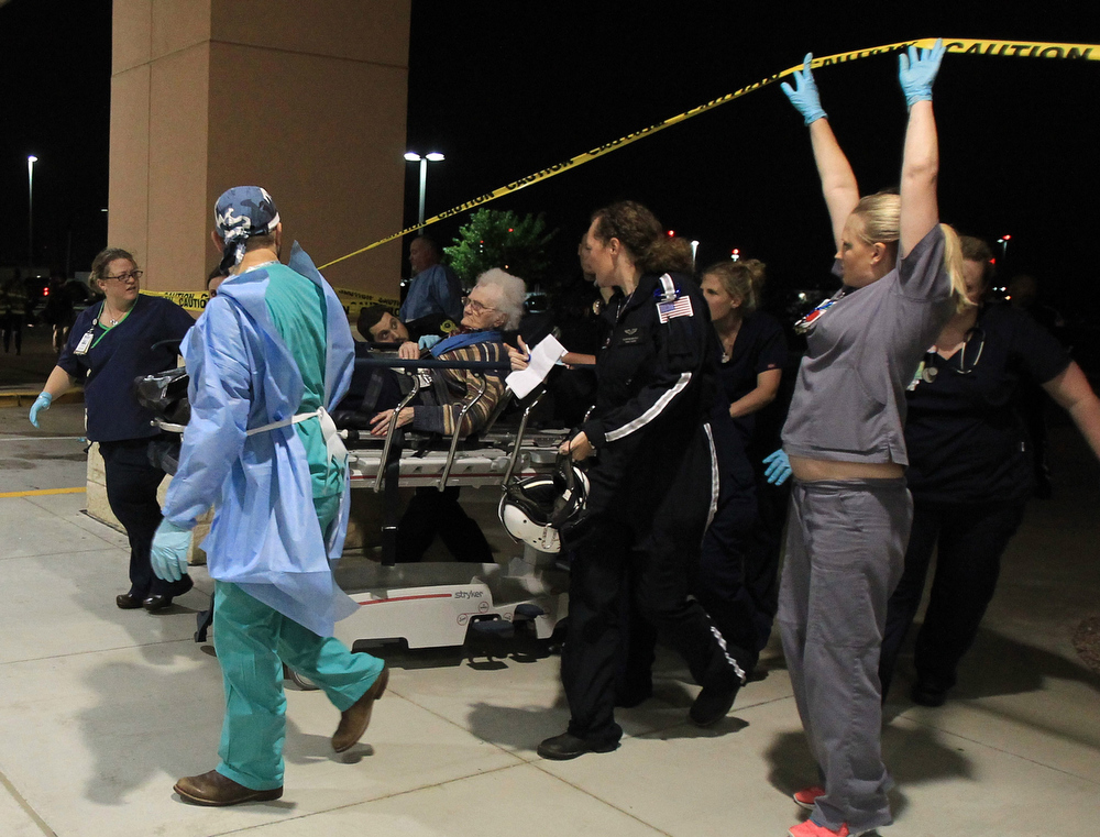 . A victim from the West fertilizer plant explosion is wheeled into Hillcrest Baptist Medical Hospital in Waco, Texas, Wednesday, April 17, 2013. (AP Photo/Waco Tribune Herald, Jerry Larson)