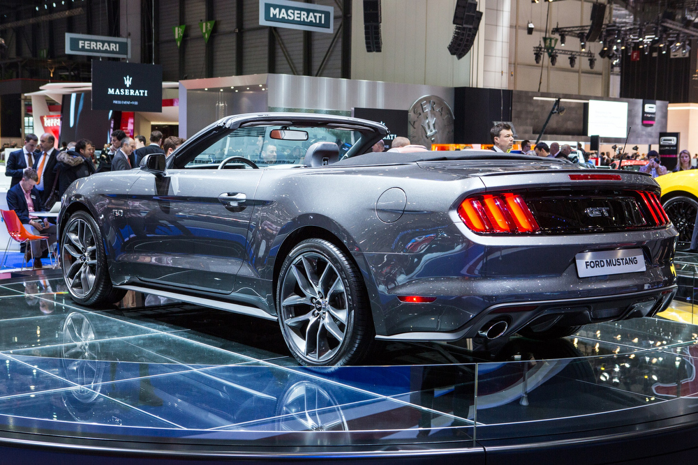 Description of . The 2015 Ford Mustang GT Convertible is presented at the Geneva Motor Show in Geneva, Switzerland, on March 4, 2014. AFP PHOTO / PIERRE ALBOUYPIERRE ALBOUY/AFP/Getty Images