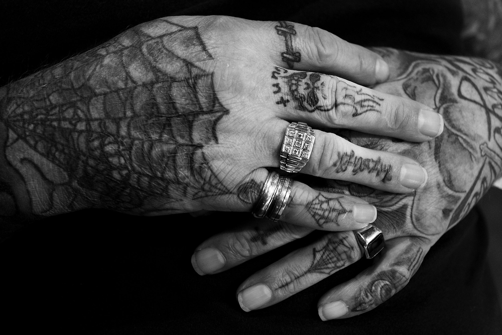 . A close-up view of  Ian Harding\'s tattooed hands as seen during The Australian Tattoo & Body Art Expo at the Royal Hall of Industries, Moore Park on March 8, 2013 in Sydney, Australia. The annual three day event showcases some of Australia\'s best tattoo and body artists and is open to enthusiasts March 8-10.  (Photo by Lisa Maree Williams/Getty Images)