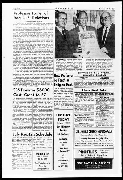 Summer Trojan, Vol. 9, No. 6, July 09, 1959