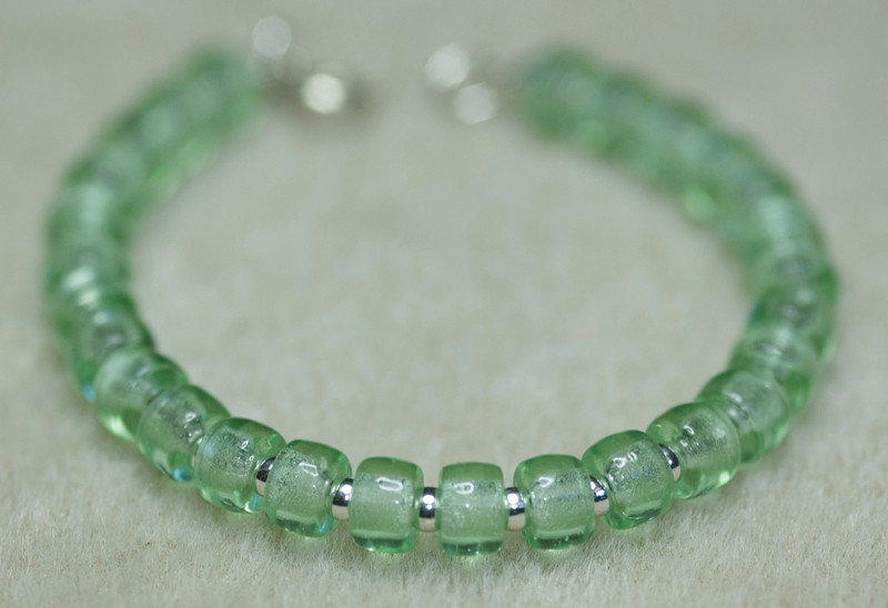 Green Glass with Tiny Silver Beads