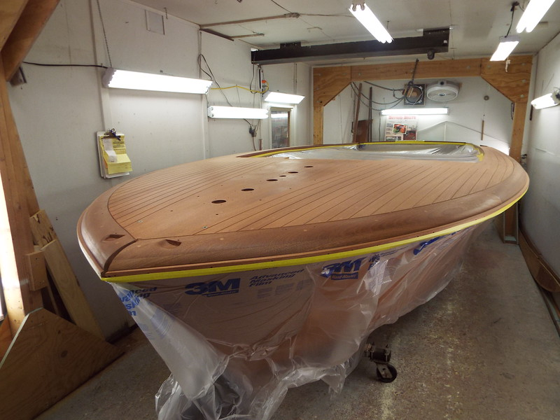 Sides masked so the front and rear decks can be stained.