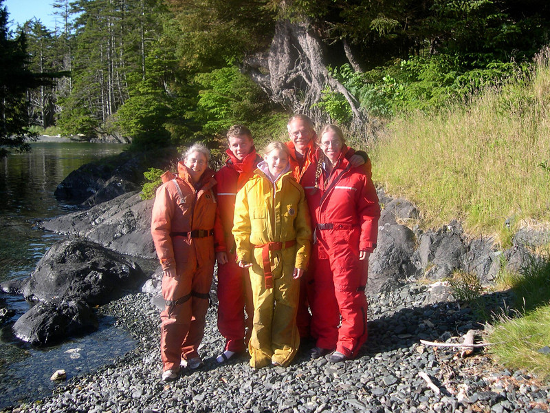 In Survival Suits.