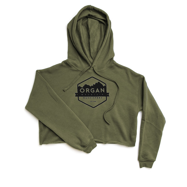 Organ Mountain Outfitters - Outdoor Apparel - Womens - Classic Cropped Fleece Hoodie - Military Green Black.jpg