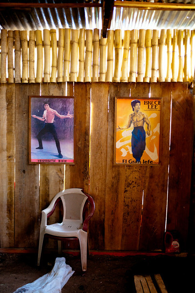 Bruce Lee adorns a cafe's walls in rural Nicaragua.