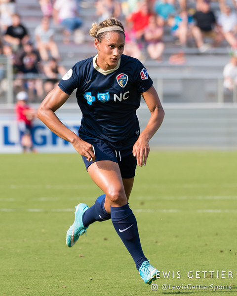 Lynn Williams (9)  during a match between the NC Courage and the Orlando Pride in Cary, NC in Week 3 of the 2017 NWSL season. Photo by Lewis Gettier.
