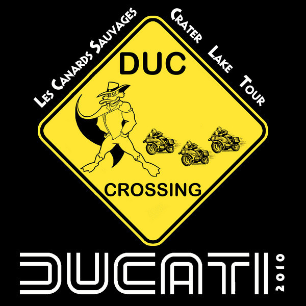 Before our trip, I created this graphic in Photoshop, borrowing elements from the internet, and printed it up on T-Shirts. We all had them and when we wore them at the same time, it felt like we were a Ducati Factory Team. Fun!