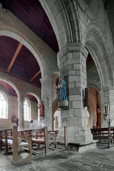 Interior of the Collegiate Church, town of Rochefort-en-Terre, departament of Morbihan, region of Brittany, France