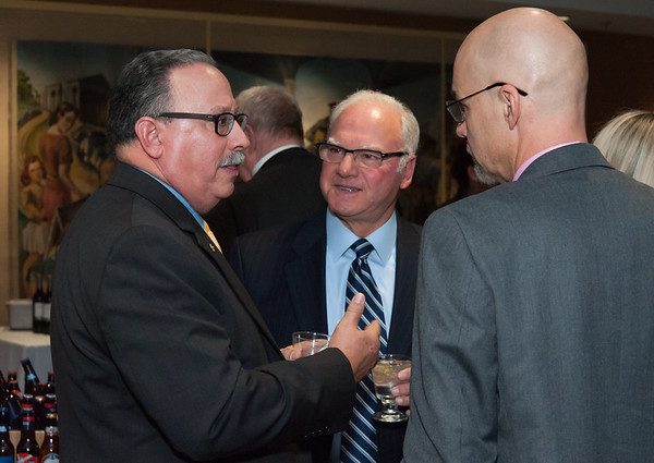 11/15/18 Wesley Bunnell | Staff The Greater New Britain Chamber of Commerce held their 105th Annual Meeting on Thursday night at CCSU. CSDNB work based learning liaison Gerry Berthiaume, L, speaks with fellow guests.