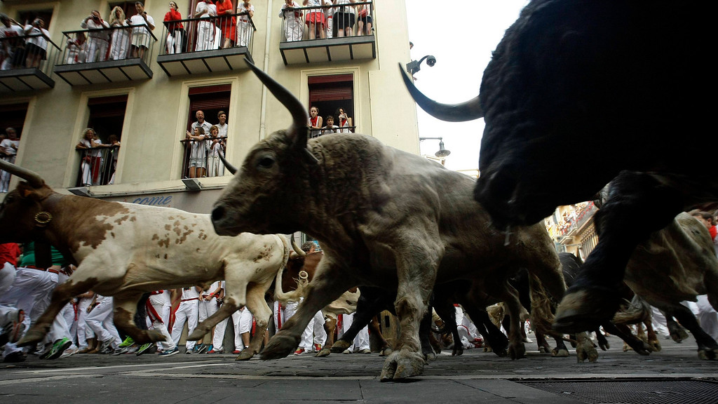 . Torrestrella fighting bulls take the Estafeta curve during the fifth running of the bulls of the San Fermin festival in Pamplona July 11, 2013. No serious injuries were reported in a run that lasted two minutes and forty five seconds, according to local media. REUTERS/Susana Vera