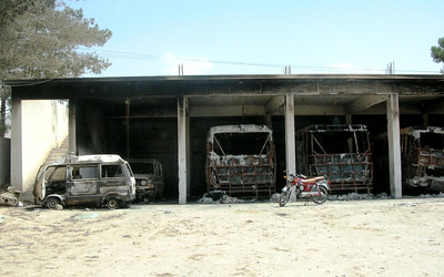 Burnt student buses of Balochistan University