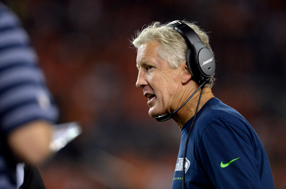 . Seattle Seahawks Head Coach Pete Carroll on the sidelines during the first half.  The Denver Broncos vs the Seattle Seahawks At Sports Authority Field at Mile High. (Photo by AAron Ontiveroz/The Denver Post)