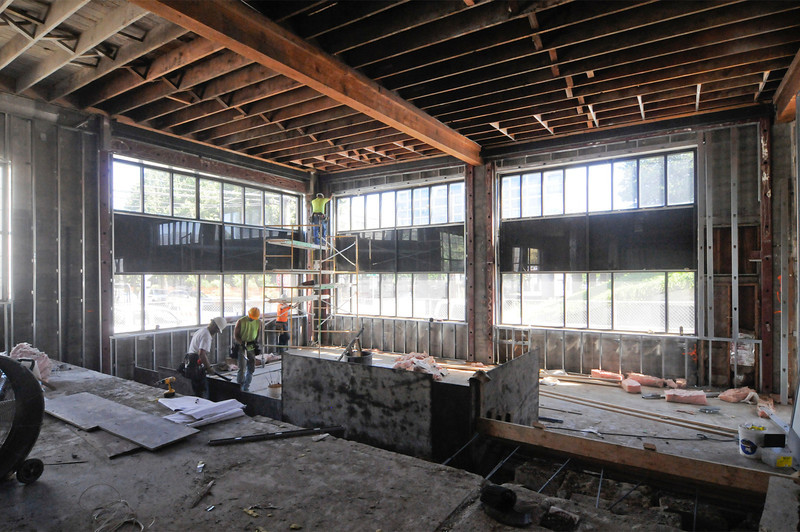 Yorke & Curtis are renovating a 15,000-square-foot Northwest Portland warehouse building for creative agency Downstream. Work includes a full demolition on the building's interior and a seismic upgrade with new concrete shear walls, as well as the sandblasting of the 73-year-old building's exposed trusses. Work on the THA Architecture-designed project began in May and is slated for completion in September.