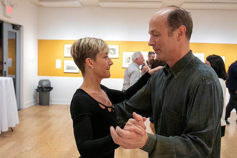 The first winter learn to dance salsa was held at the Fitchburg Art Museum on Friday night, Jan. 24, 2020. Practicing the steps they just learned is Joe Selle from Concord and Meg Tahbault from Fitchburg. SENTINEL & ENTERPRISE/JOHN LOVE