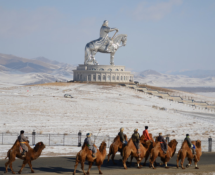 Camel Polo at the Chinggis Khan Statue Complex, Mongolia