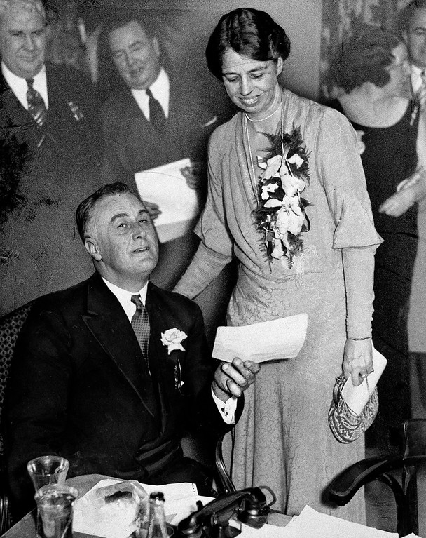 . 1932: Franklin D. Roosevelt. ** FILE ** In this Nov. 8, 1932 file photo, then New York Gov. Franklin D. Roosevelt holds one of many congratulatory telegrams received on his victory in the presidential election at the Hotel Biltmore in New York City. His wife Eleanor smiles as she reads over his shoulder. (AP Photo/File)
