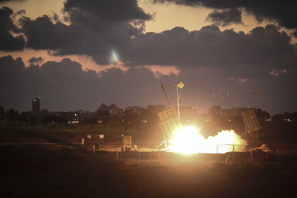 . The Iron Dome air-defense system fires to intercept a rocket over the city of Ashdod on July 16, 2014 in Ashdod,Israel. An Egyptian ceasefire proposal was yesterday refused by Hamas, who continued their missile bombardment on Israel. Israel has today issued a warning to 100,00 residents of northern Gaza to evacuate their homes as it continues with planned airstrikes as part of operation \'Protective Edge\'. Israeli Prime Minister Benjamin Netanyahu said he had \'no choice\' but to intensify the military operation in light of the refusal to ceasefire terms from Hamas officials.  (Photo by Ilia Yefimovich/Getty Images)