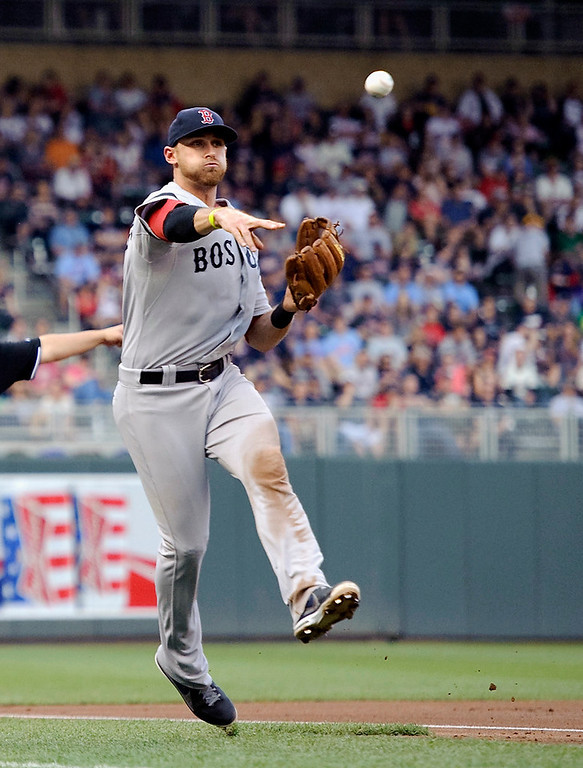 . Boston third baseman Will Middlebrooks throws to home plate to catch Ryan Doumit of the Minnesota Twins in a rundown. (Photo by Hannah Foslien/Getty Images)