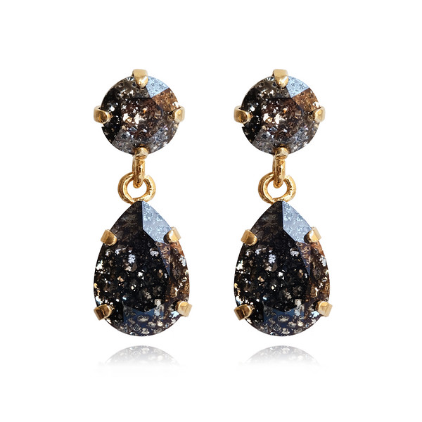 Mini Drop Earrings / Black Patina / Gold