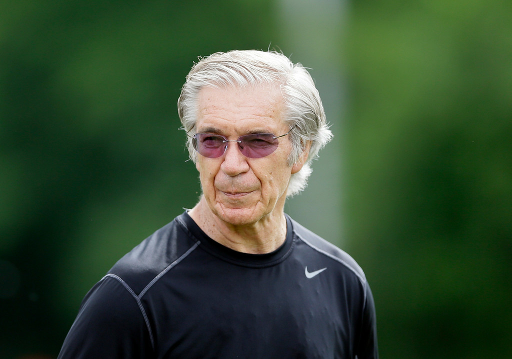 . Detroit Lions Senior Coaching Assistant -Gunther Cunningham is seen during an NFL football minicamp in Allen Park, Mich., Wednesday, June 11, 2014. (AP Photo/Carlos Osorio)