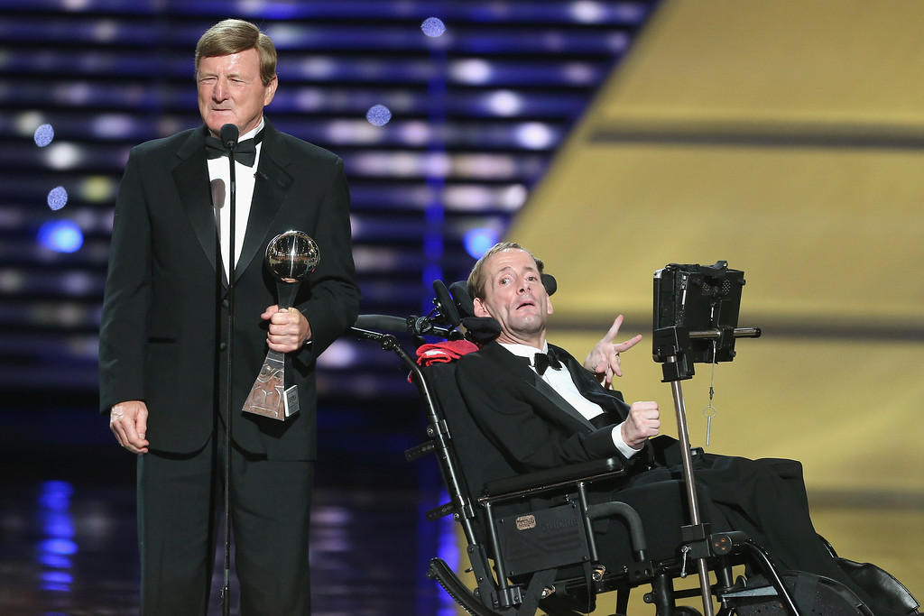 . (L-R) Jimmy V award recipients Dick Hoyt and son Rick Hoyt accepting an award  onstage at The 2013 ESPY Awards at Nokia Theatre L.A. Live on July 17, 2013 in Los Angeles, California.  (Photo by Frederick M. Brown/Getty Images for ESPY)