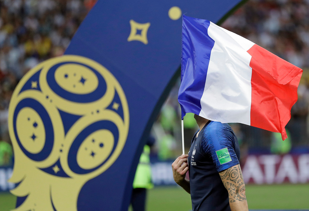 . France\'s Olivier Giroud celebrates after the final match between France and Croatia at the 2018 soccer World Cup in the Luzhniki Stadium in Moscow, Russia, Sunday, July 15, 2018. France won the final 4-2. (AP Photo/Matthias Schrader)