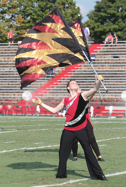 Colorguard performs at half time.