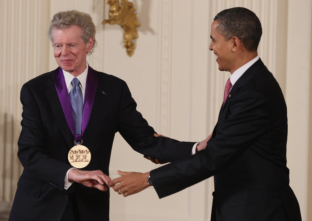 . U.S. President Barack Obama congratulates musician Van Cliburn after presenting him with the 2010 National Medal of Arts, during a ceremony in the East Room of the White House, on March 2, 2011 in Washington, DC. President Obama presented the 2010 National Medal of Arts and National Humanities Medal to 20 honorees  (Photo by Mark Wilson/Getty Images)