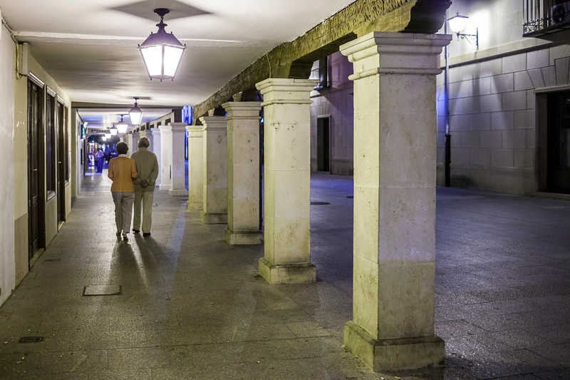 Colonnade, Calle Mayor (Main Street) at night, Burgo de Osma, Soria, Spain