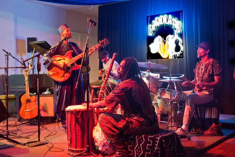 "Birdland Jazzista Social Club - ""Yacine Kouyate and the sounds of Mali"" - Tony D on right playing drums"