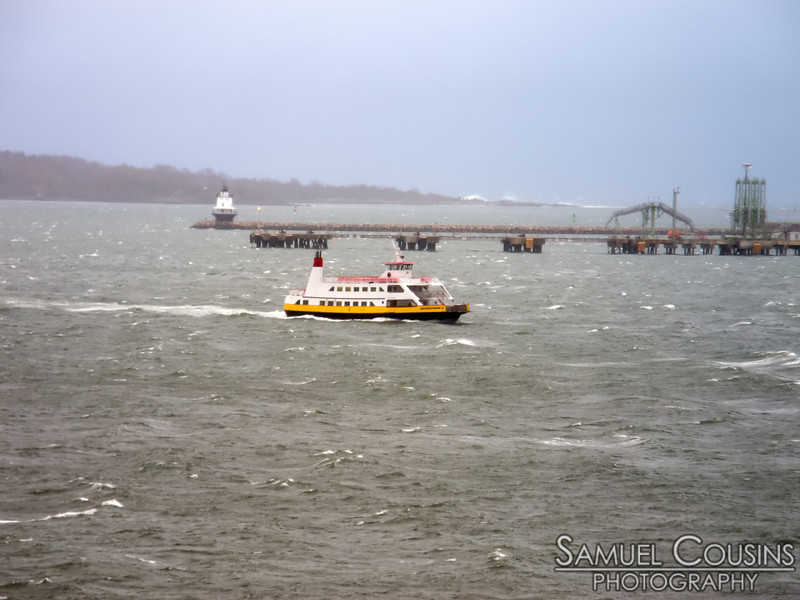 Car Ferry coming in during Hurricane Sandy.