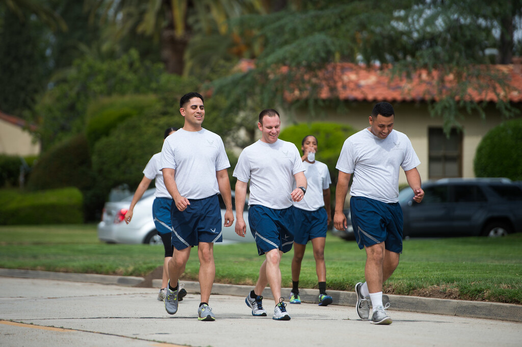. Senior Airman Joseph Trujillo, center, walks with Blue Eagles Honor Guard members during a daily exercise at March Air Reserve Base in Riverside, Calif. on Wednesday, May 13, 2015. (Photo by Watchara Phomicinda/ Los Angeles Daily News)