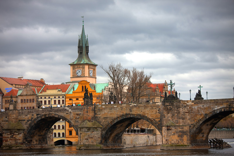 Cloudy day over the Vltava River, Prague, Czech Republic