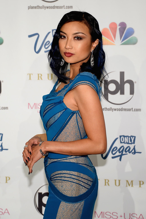 . Television personality, fashion expert and pageant commentator Jeannie Mai arrives at the 2013 Miss USA pageant at Planet Hollywood Resort & Casino on June 16, 2013 in Las Vegas, Nevada.  (Photo by Ethan Miller/Getty Images)