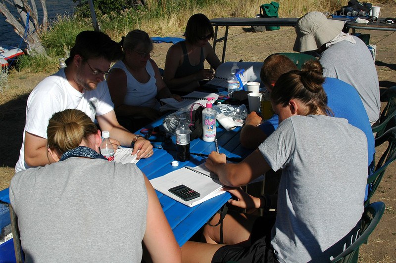 Next, class is back in session and the students work out flow and erosion rates and the such.