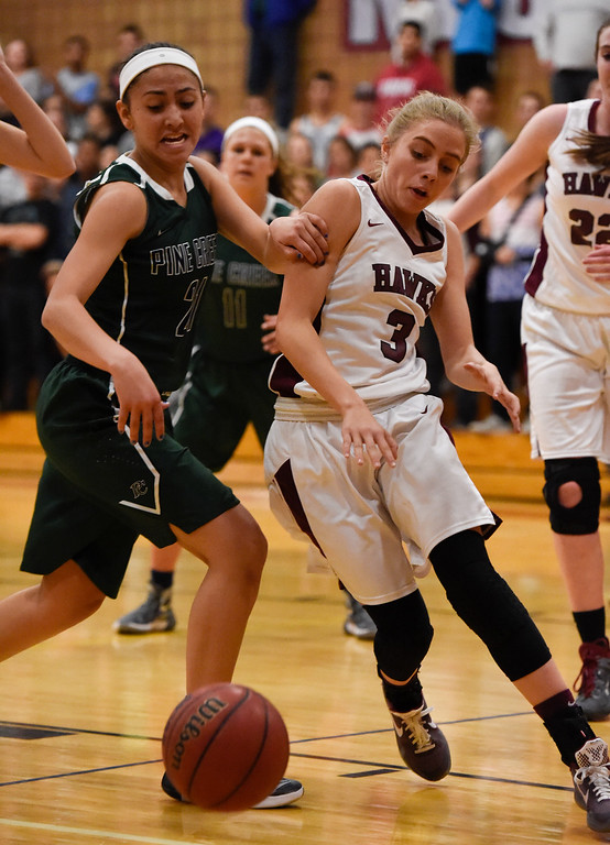 . THORNTON, CO - MARCH 01: Pine Creek Jade Odom (21) and Horizon Kylie Jimenez (3) battle for the ball during the Girls Class 5A Sweet 16 game March 1, 2016 at Horizon HS. (Photo By John Leyba/The Denver Post)