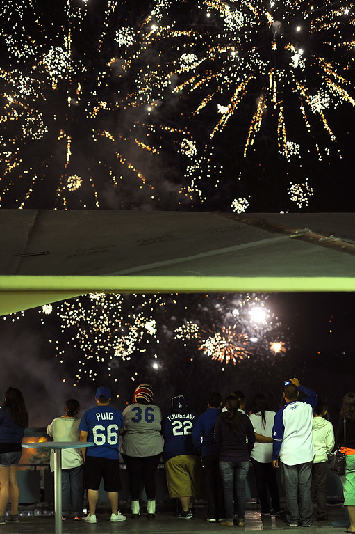 . Dodger fans watch the Friday night fireworks following the Dodgers-Padres game, July 11, 2014, at Dodger Stadium. (Photo by Michael Owen Baker/Los Angeles Daily News)