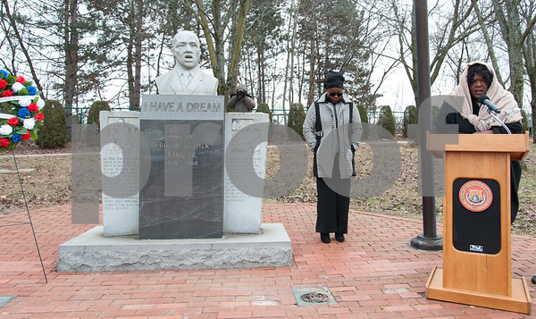 01/15/18 Wesley Bunnell | Staff The City of New Britain commemorated the life of Martin Luther King Jr. with a ceremony Monday morning at Trinity-on-Main followed by a wreath laying service at the Dr. Martin Luther King Jr. Park at noon. The events were sponsored by Mayor Erin E. Stewart and the New Britain Commission on Human Rights and Opportunities. Attendees bow their heads as the benediction is given by Rev Jacqueline King, Pastor of Spottswood AME Zion Church.