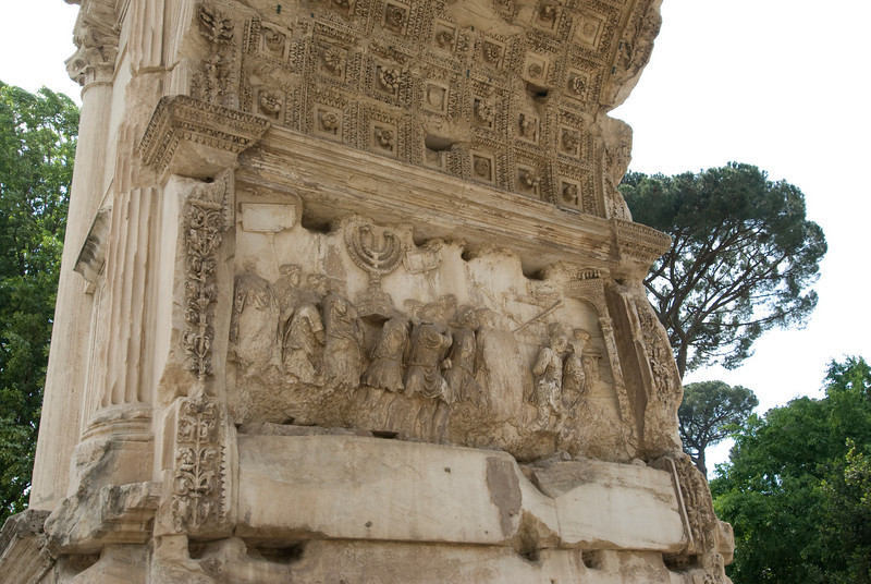 Details of the Arch of Titus in Rome, Italy
